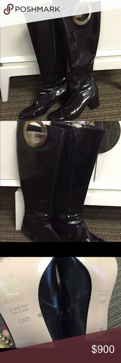 Tom Ford for Gucci Patent 'g' Boots Worn twice! Still in great condition! Rare boots from when Tom Ford designed for Gucci Gucci Shoes Heeled Boots
