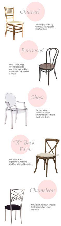Top Five wedding chairs via Coastal Bride - Event Planing Wedding Blog, Wedding Events, Wedding Planner, Dream Wedding, Gothic Wedding, Weddings, Wedding Chairs, Wedding Seating, Wedding Chair Types