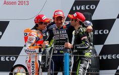 1Rossi 2Marquez 3Crutchlow the podium of Assen 2013