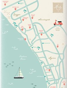 Bali Trip Map Illustration by Putri Febriana | More on https://www.behance.net/PutriFebriana