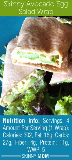 Skinny Avocado Egg Salad Wrap! 300 Calories & 11g of Protein! If you love egg salad, you will still love these healthy swaps!