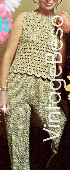 Digital Pattern  Vintage 1970s Crochet Sexy Gold Top Crochet