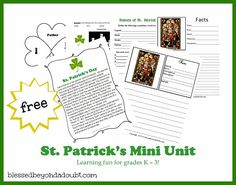 St. Patrick's Day History Mini Unit  http://www.blessedbeyondadoubt.com/history-of-st-patricks-day-mini-unit/#