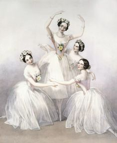 Engraving of Pas de Quatre with the dancers Marie Taglioni, Carlotta Grisi, Lucile Grahn and Fanny Cerrito, painted by Edward Alfred Chalon and engraved by Thomas Herbert Maguire. Ballet Vintage, Vintage Dance, Misty Copeland, Ballerine Vintage, World Ballet Day, Ballerina Painting, Ballerina Art, Vintage Illustration Art, Female Dancers