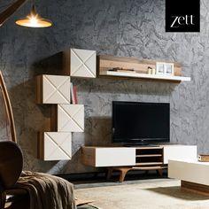 Salonunuzun en güzel köşesini ona ayırın! Tv Cabinet Design, Tv Unit Design, Tv Wall Design, Ceiling Design, Lcd Panel Design, Lcd Units, Tv Wall Decor, Wall Tv, Sweet Home Design