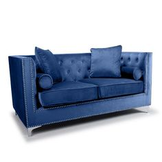 Peckham 2 Seater Sofa In Blue Brushed Velvet With Chrome Legs