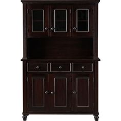 Kipling Mahogany Buffet with Hutch Top in Dining, Kitchen Storage | Crate and Barrel