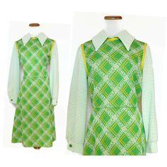 Mod Dress / Scooter Dress / Peter Pan Collar Dress / 60s Dress / Green Mod Dress / Mod Midi Dress / 60s Mod Dress / Size Medium by GoodLuxeVintage on Etsy