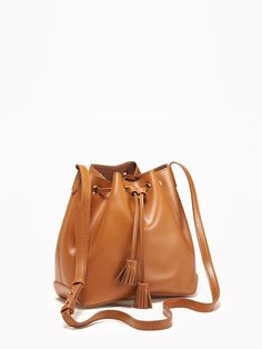 Faux-Leather Drawstring Bucket Bag for Women