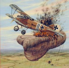 """German ace Julius Buckler of the Jasta 17 """"handle a sausage"""" a comet observation balloon, the first balloon (7) on the Bois de Genicourt at 09 20 of 26 April 1917. it was his sixth win of 36. Although the observer parachuted, did not survive. BFD"""