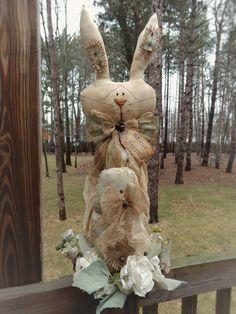 FOLK Art PrimiTive Spring EasTer EGG RABBIT DOLL Table Top Wreath DecoraTion Tag #PrimitiveLookFolkArt #MelissaHarmon