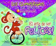 El arte de ser felices-tarjeta de cumpleaños-Mono Manolo haciendo malabares en un monociclo. © ZEA www.tarjetaszea.com