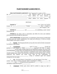 Partnership Agreement | Business Templates | Pinterest ...