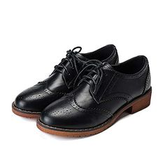 a8078698b Meeshine Women's Perforated Lace-up Wingtip Leather Flat Oxfords Vintage Oxford  Shoes Brogues Black Size