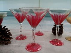 Handpainted red martini glasses; set of 4 $60. Harrisartstudio.com