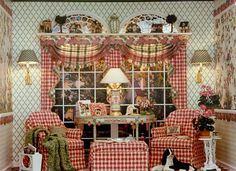 Brooke Tucker- Ok...this is a dollhouse however I love the pattern and color.  Could replicate in a real room!