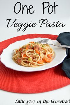 One Pot Veggie Pasta. Quick, easy, and delicious option for dinner!