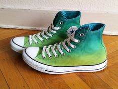 New pair Tropical green ombre Converse dip dye sneakers by Femchan, €80.25