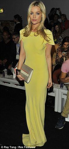 Mellow yellow: Irish TV presenter Laura Whitmore at the Grachvogel show White Mini Dress, Yellow Dress, High Fashion, Fashion Beauty, Ladies Fashion, London Fashion, Laura Whitmore, Cheap Maxi Dresses, Mellow Yellow
