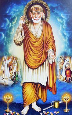 Shirdi Sai Baba - Hindu Posters (Reprint on Paper - Unframed) Sai Baba Pictures, Sai Baba Photos, God Pictures, Sai Baba Hd Wallpaper, Photo Wallpaper, Good Morning Video Songs, Worship Wallpaper, Shirdi Sai Baba Wallpapers, Baba Image