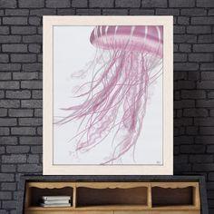 Jellyfish art, Nautical decor, pink Jellyfish print, pink art print, pink bathroom print, modern coastal home - Jellyfish drift in pink