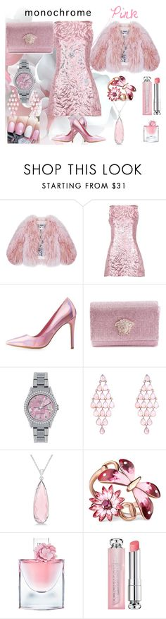 """Monochrome pink, evening dress"" by colonae ❤ liked on Polyvore featuring Florence Bridge, Balenciaga, Charlotte Russe, Versace, Rolex, Allurez, Gucci, Lancôme and Christian Dior"
