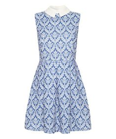 Another great find on #zulily! Blue & White Damask Collared A-Line Dress by Iska London #zulilyfinds