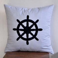 striped/navy ship wheel pillow