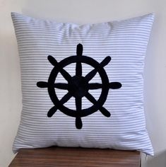 striped/navy ship wheel pillow