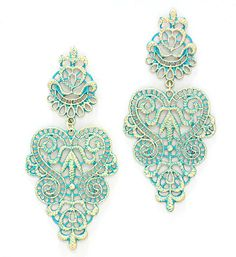 Crochet Rose Earrings in Teal Patina
