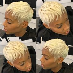 Please check more! Awesome Five Advantages Of Blonde Pixie Cut On Black Girl And How You Can Make Full Use Of It Short Black Hairstyles, Short Pixie Haircuts, Pixie Hairstyles, Hairstyles With Bangs, Short Hair Cuts, 1940s Hairstyles, Black Pixie Haircut, Hairstyles 2016, Wedding Hairstyles