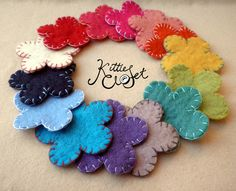 Mixed Pack of x10 Big 8cm 100% Wool Felt Stitched Flowers £10.00