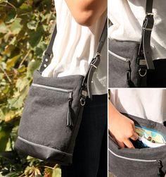 Gürtelschnallen DIY!----- Tasche aus Leinen und Leder, schlicht nur mit Gürtelschnallen und Reflektorpaspel als Detail