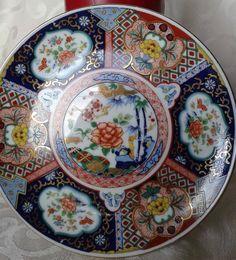 Vintage Japanese Imari Style Cobalt Blue, Orainge,Gold Trim Plate, Made in Japan Edison Chandelier, Decoupage, Plate Display, Vintage Japanese, Vintage Antiques, Create Yourself, Oriental, Etsy Seller, Decorative Plates