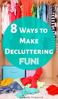 Decluttering ideas for making it fun! Great for when you're feeling overwhelmed. Simple tips about motivation, before and after, organizing, spring cleaning, and more! Clean My House, Simple House, Simple Living, Clutter Organization, Organization Ideas, Storage Ideas, Clutter Control, Declutter Your Life, Diy Cleaners