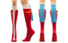Wonder Woman Sparkle Star Cape 1 Pair Women's Knee High Socks DC Comics Caped #Bioworld #KneeHigh