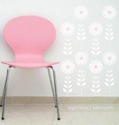 Daisy Flower Stems wall decal Set of 12 vinyl flower wall decals $25