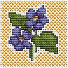 Violets free cross stitch pattern