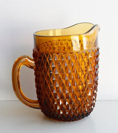 Amber Retro Pitcher  1960's  Thick Sturdy Glass by jelizsti, $35.00 #amberpitcher #glasspitcher #pitcher #vintagepitcher #glass #vintage
