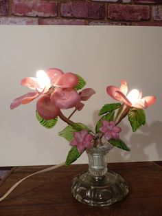 Shop for lamp on Etsy, the place to express your creativity through the buying and selling of handmade and vintage goods. Vintage Light Bulbs, Vintage Lighting, Flower Lamp, Glass Flowers, Glass Art, Blown Glass, Branches, Vintage Art, Creative