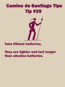 Camino Tips 29: Take lithium batteries.