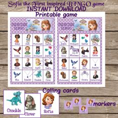 Sofia the First Inspired Bingo Game, Birthday Party Game, Instant Download, Disney Princess Party by OKPRINTABLES