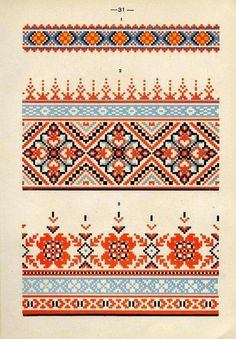 Folk Embroidery, Hand Embroidery Designs, Cross Stitch Embroidery, Embroidery Patterns, Print Patterns, Ethnic Patterns, Cross Stitch Borders, Cross Stitch Charts, Cross Stitch Designs