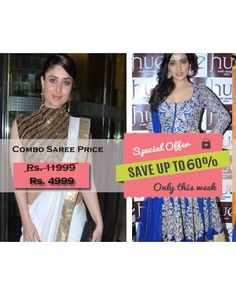 Combo Offer Of Designer Bollywood Embroidered Blue Suit And White Saree