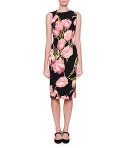 Sleeveless+Tulip-Print+Dress,+Black/Rose+Pink+by+Dolce+&+Gabbana+at+Neiman+Marcus.