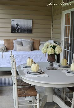 Dear Lillie: September Porch...love the white and burlap