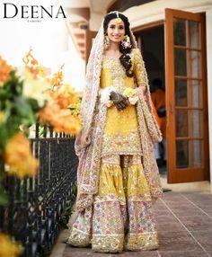 Pakistani Mehndi Dress, Bridal Mehndi Dresses, Mehendi Outfits, Simple Pakistani Dresses, Pakistani Wedding Outfits, Indian Bridal Lehenga, Bridal Dress Design, Indian Bridal Wear, Pakistani Wedding Dresses