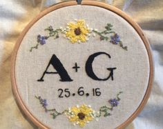 Custom Wedding Embroidery Hoop by ButtonsEmbroidery on Etsy