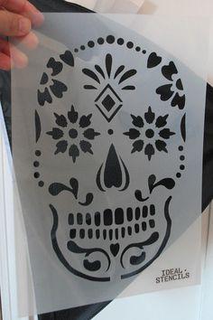 Sugar skull Stencil - Ideal Stencils - http://www.idealstencils.co.uk/sugar-skull-stencil---single-layer-3038-p.asp