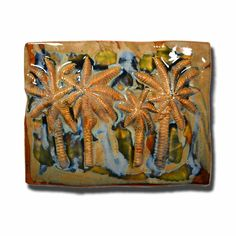 Earth Tones Large Four Palm Tree Plaque